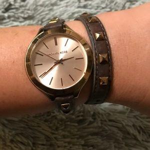 MK Wrap Leather/Studded Watch
